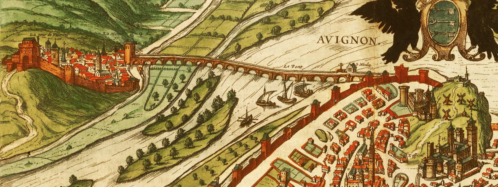 Le pont d'Avignon, gravure historique