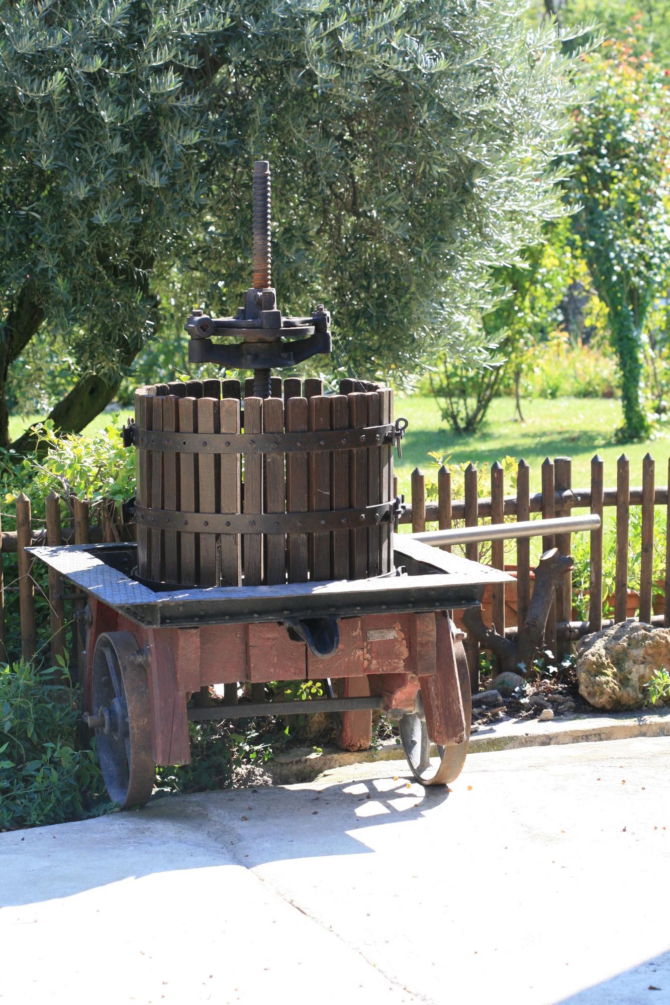 Pressoir à vin ancien en bois