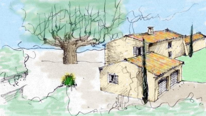 Mazet en Luberon en cours de rénovation avec platane centenaire