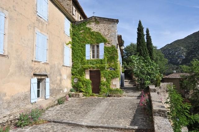 Face au Luberon, maison de village avec plusieurs terrasses et un jardin