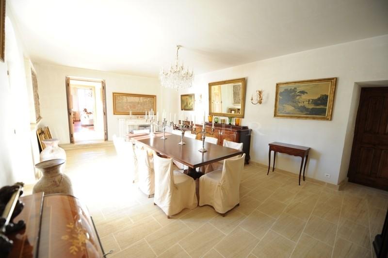 A vendre,   sur les hauteurs, face au Mont Ventoux et aux Dentelles de Montmirail, propriété de caractère  avec une cour intérieure, un parc paysager et une piscine sur 3 hectares de terrain.