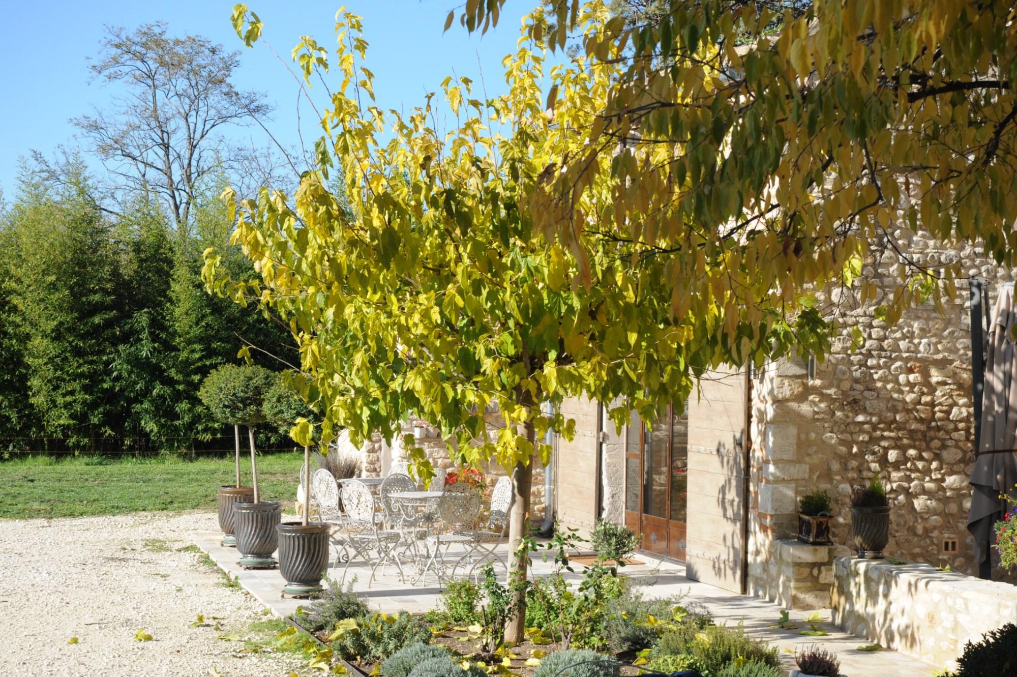 Entre Monts de Vaucluse et Luberon, en vente, mas en pierres rénové avec parc arboré