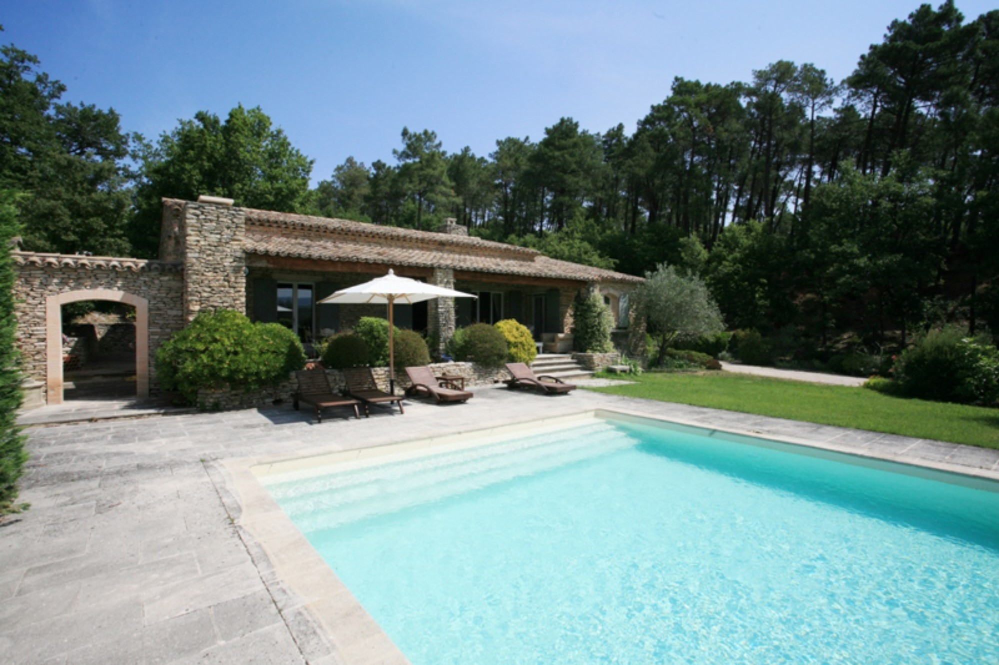 traditional stone house with pool and tennis court for sale near