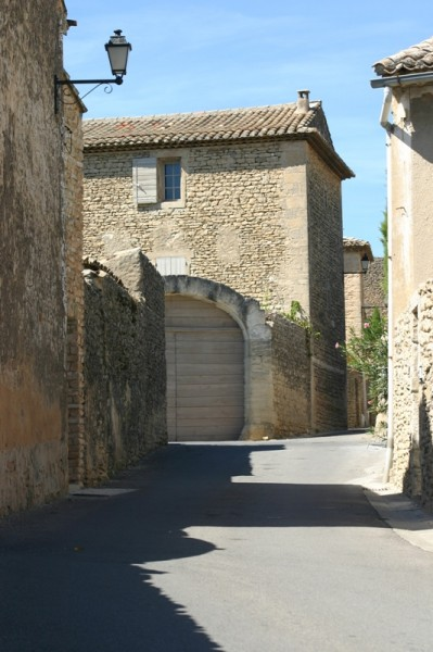 Street and stone walls in Provence